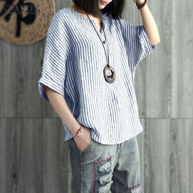 0e554532618643 Plus Size ZANZEA Women Striped Blouse Summer V Neck Batwing Sleeve Cotton  Linen Shirt Casual Loose