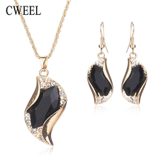 CWEEL New African Beads Jewelry Sets For Women Accessories Wedding Bridal Pendant Statement Imitated Crystal Necklace Earrings