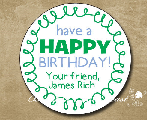 Personalized Green Birthday Gift Sticker Party Favor Bag Labels Tags Decorations Kids Candy Box