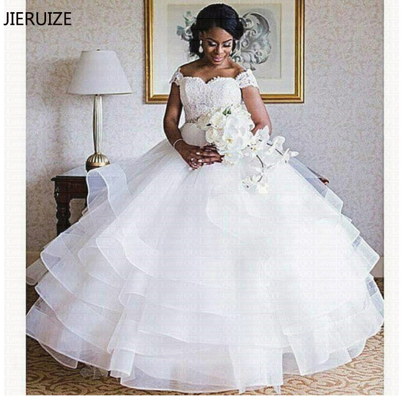 JIERUIZE White Lace Appliques Tiered Wedding Dresses Sweetheart Off The Shoulder Bride Dresses Cheap Wedding Gowns-in Wedding Dresses from Weddings & Events    1