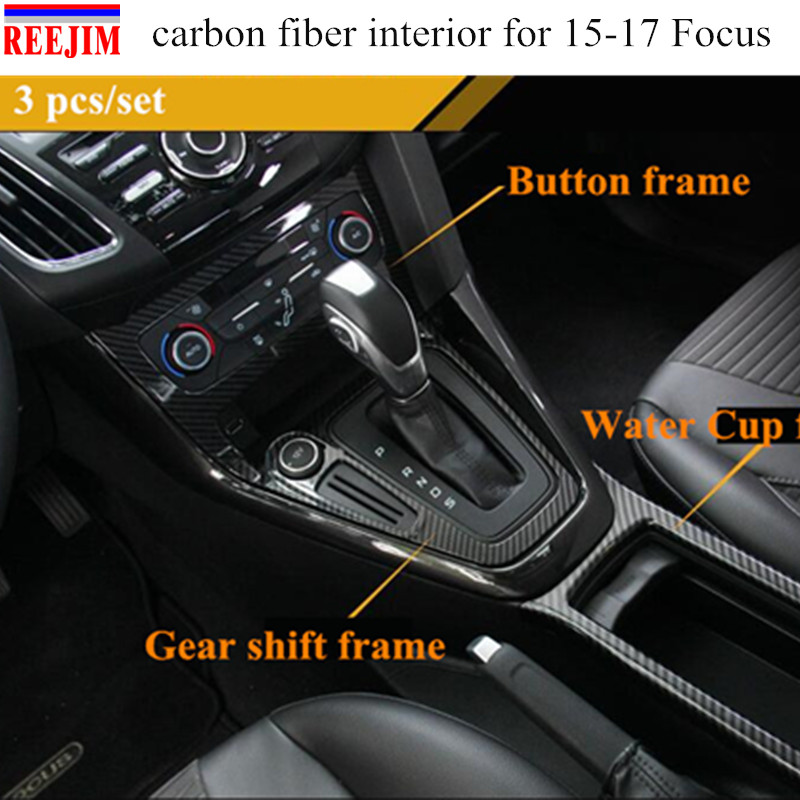 Carbon fiber Gear panel cup holder door handle steering wheel air vent Decorative case F ...