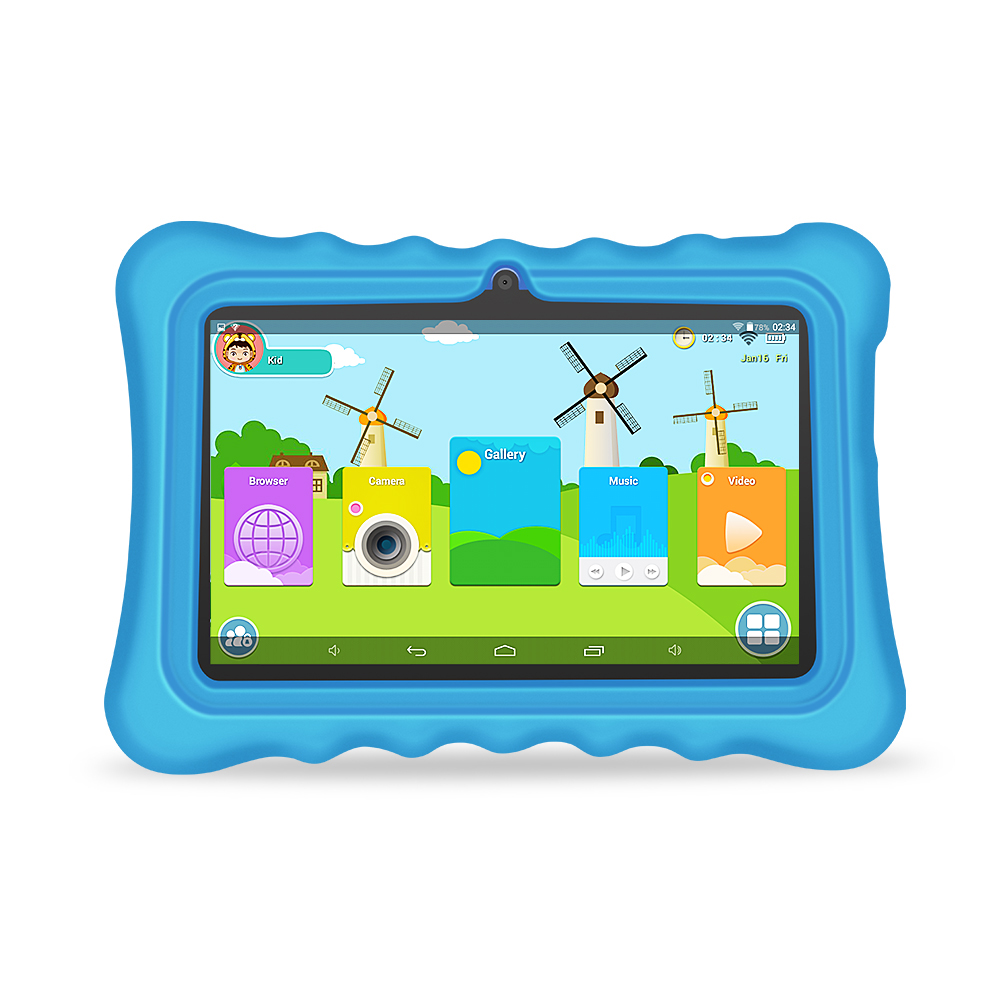 Yuntab Q88H 7inch touch screen Kids Tablet , Kids Software Pre Installed Educational Game Apps with Chic stand Case(blue)