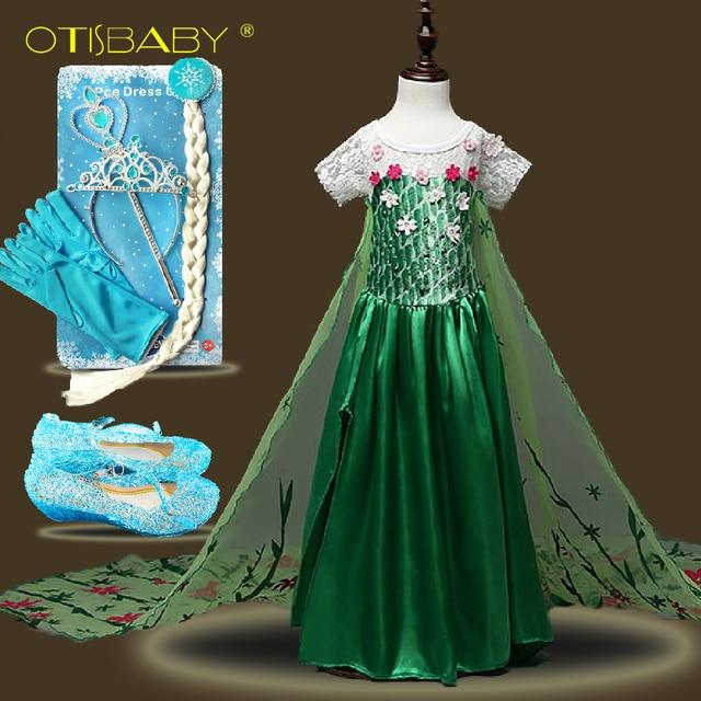 Children Lace Flower Princess Elsa Costume Anna Snow Queen Prom Girls Clothing Summer 2018 Kids Birthday Party Elsa Fairy Dress