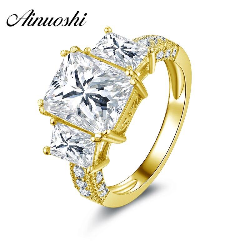 AINUOSHI luxe 3 pierre anneau 14K solide blanc/jaune or Rectangle coupe simulé diamant Pave réglage bande femmes bague de fiançailles