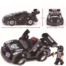 hot  counter-terrorism police patrol car cities gendarmerie building block assembled toys for children Christmas gifts birthday