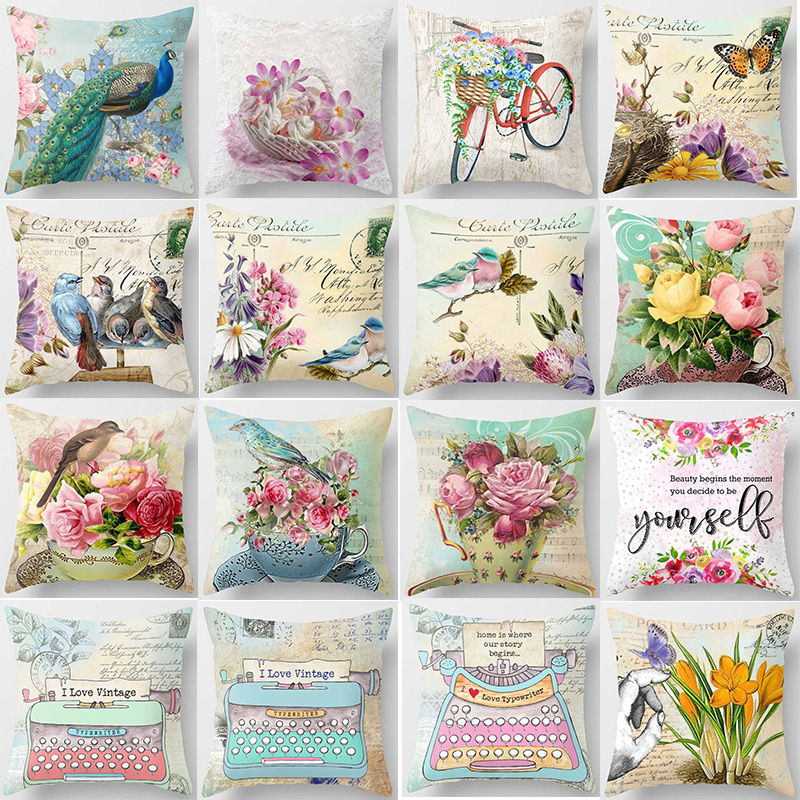 New Birds Bikes Flowers  Peacock Typewrite Pattern  Pillow Cases Square Double Sides Pattern Pillow Covers Size 45*45cm