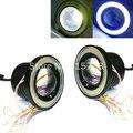 2 шт. 10 Вт 2.5 ''дюймов 64 ММ Универсальная Автомобильная Туман LampDaytime Вождения лампы DRL Супер Яркий COB Angel Eyes Противотуманные Фары Объектив Проектора