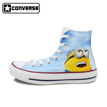 Sky Blue Converse Chuck Taylor Men Women Shoes Despicable Me Minions Design Hand Painted Shoes Sneakers Skateboarding Shoes Gift