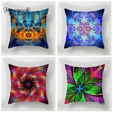 Fuwatacchi 3D Style Cushion Cover Multi Color Flower Printed Pillow Red Blue Purple Floral Decorative Pillows For Sofa Car