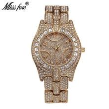 Miss Fox Top Luxury Brand Watch Women Rhinestone Semirings Even Shockproof Waterproof Watch Female Arabic Numeral Orologio Donna