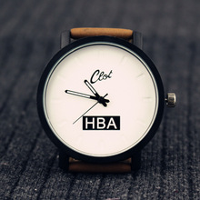 Lover gift Fashion Brand HBA Leather Strap Unisex Watches Men Quartz Women Dress simple Watch casual