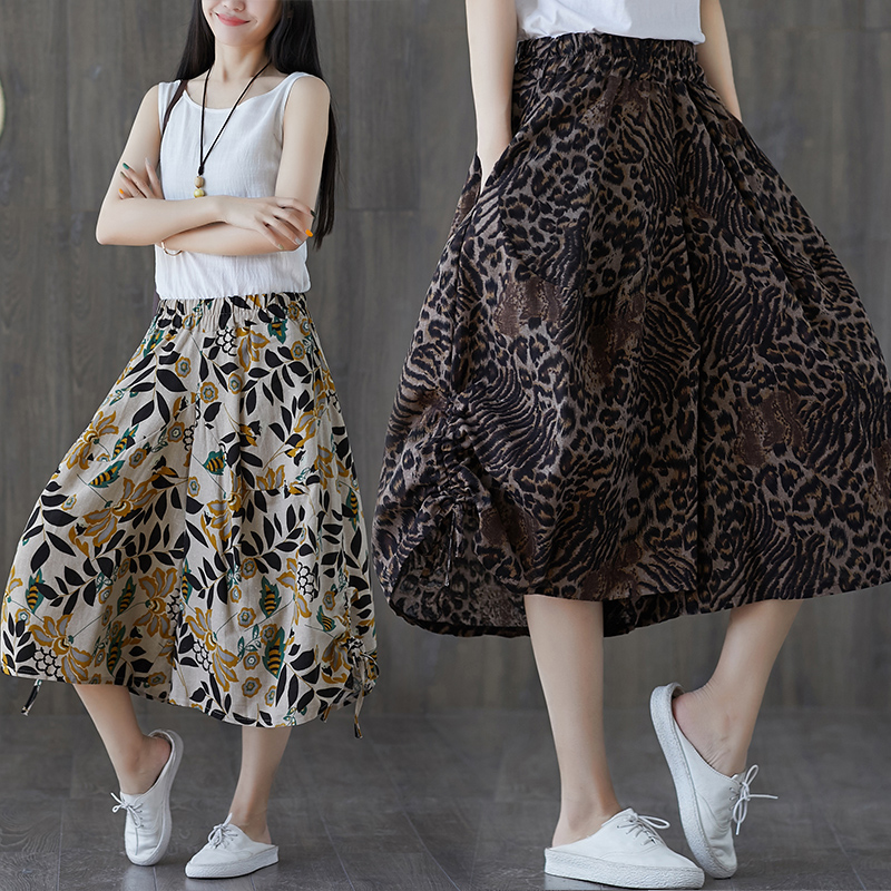 Chinese Style Lady Loose Slacks Trousers Summer Clothes Women Elastic Waist Cotton and Linen Floral Print   Wide     Leg     Pants   Pockets