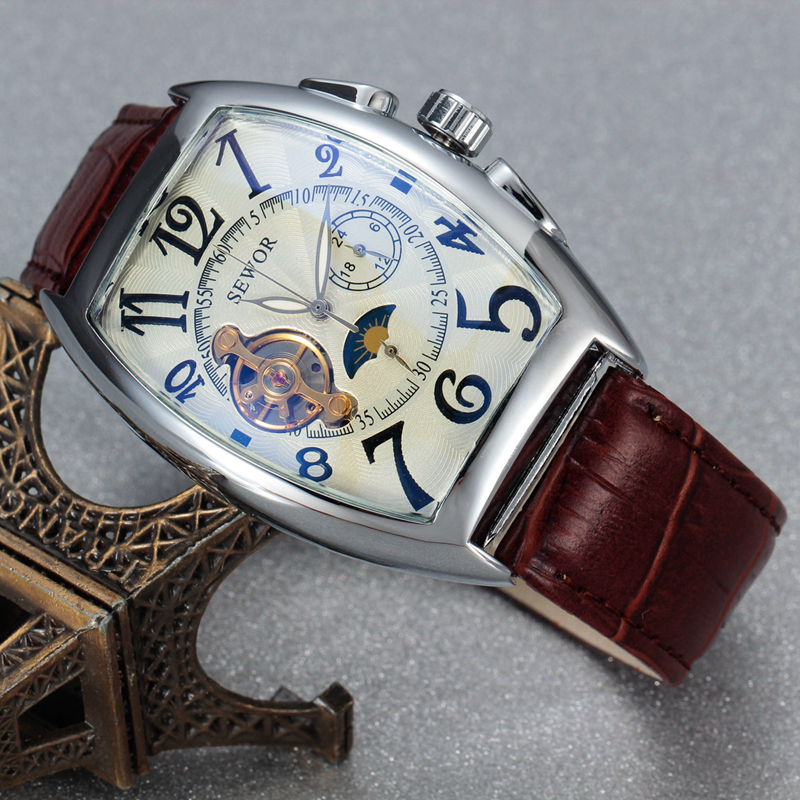 SEWOR Classic Tourbillon Wrap Mens Watches Brand Luxury Automatic Watch Golden Case Calendar Male Clock Black Mechanical Watch