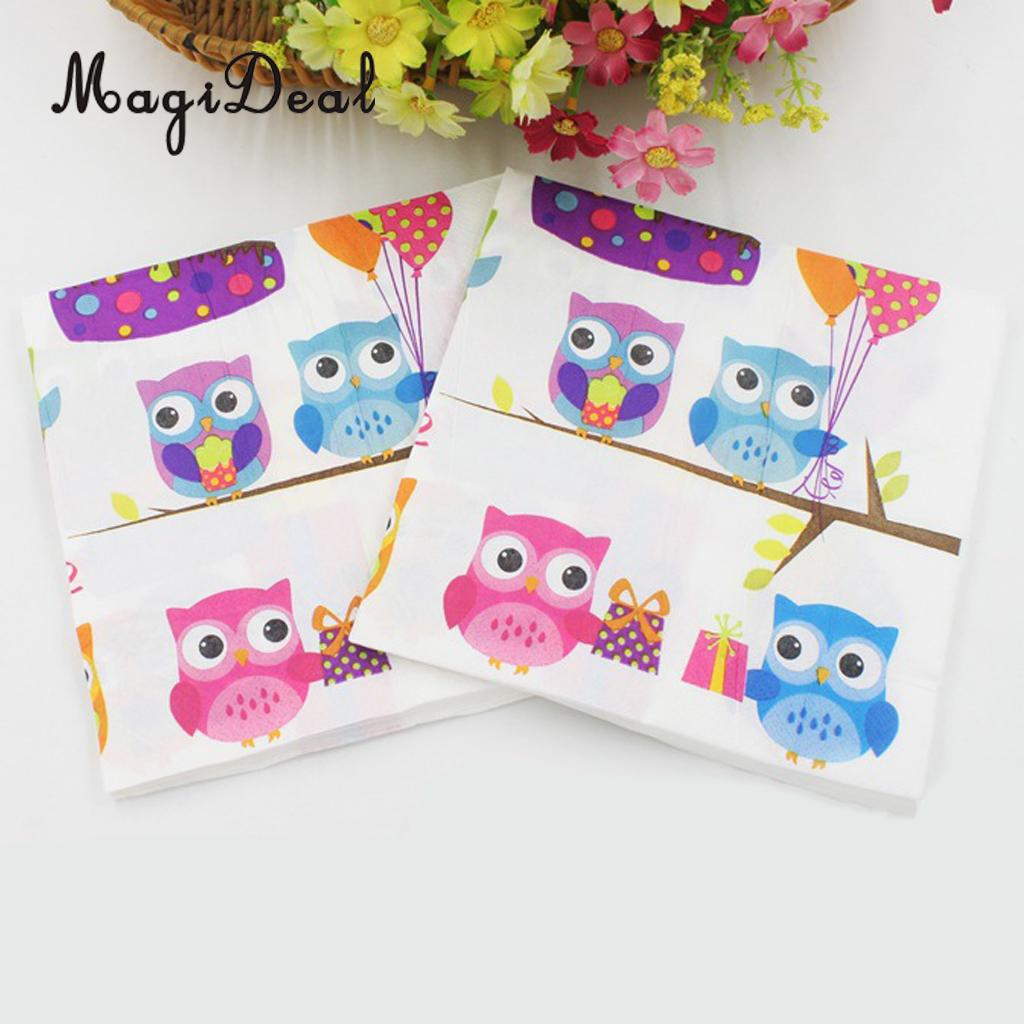 MagiDeal Practical 20Pcs/Bag Disposable Napkin Serviettes Cute Owl / EL/ Cupcake Prints for Kids Birthday Tableware Supply