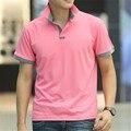 2016 корейских мода стиль розовый твердые хлопок стенд воротник поло людей летом с коротким рукавом высокое качество рубашки поло Большой размер M-3XL