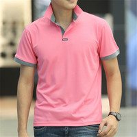 2016 Korean Fashion Style Pink Solid Cotton Stand Collar Polos Mens Summer Short Sleeve High Quality