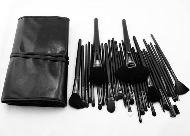 New 32 PC Pro Cosmetic Makeup Brush Set Kit With Case HN1058