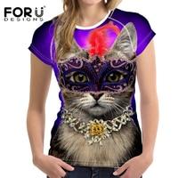 FORUDESIGNS Harajuku Donne della Maglietta 3D Kawaii Cat Stampato Punk Top Tees per le Signore Comfort Respiro Top Manica Corta Morbida Magliette