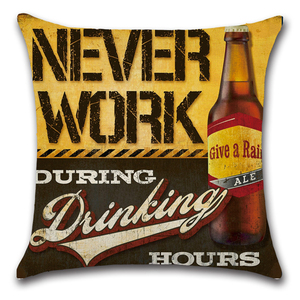 Image 3 - Cartoon Anime Letter Cushion Cover Set British Retro Beer Bottle Printing Linen Pillowcase Car Sofa Bar Farmhouse Home Decor
