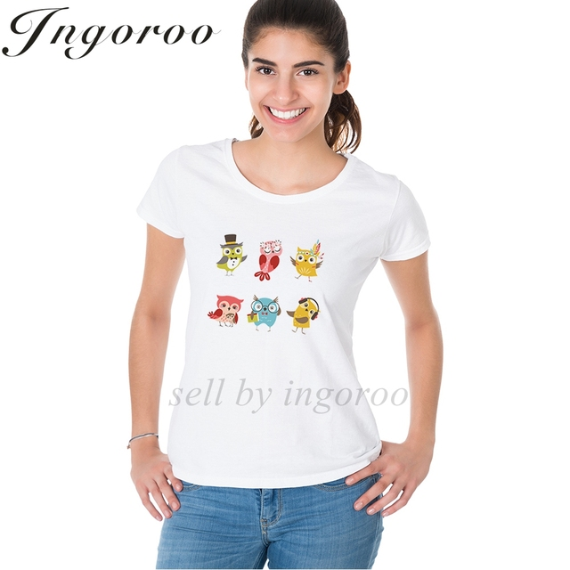 55f0a254e39 Babaseal Funny Owls Print Letter Women s Shirt Pineapple Plus Size Womens  Kawaii Tees Vintage Tshirt Casual Brand T Shirt Queen