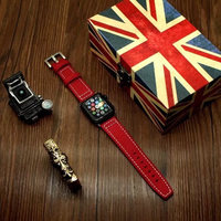 For Apple Watch Series 1 2 3 Canvas Leather Watch Band Accessories Parts Wrist Strap Bracelet