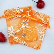 7x9 cm 200 pçs/lote Laranja Drawable Sacos de Organza Borboleta Sacos De Organza Malotes de Jóias Embalagens Para Doces Casamento Promotiont
