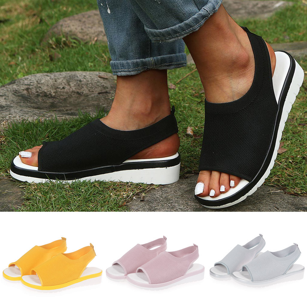 Shoes Sandals Casual Wedges Female Hollow-Out Breathable Summer Ladies Comfort Soft -39