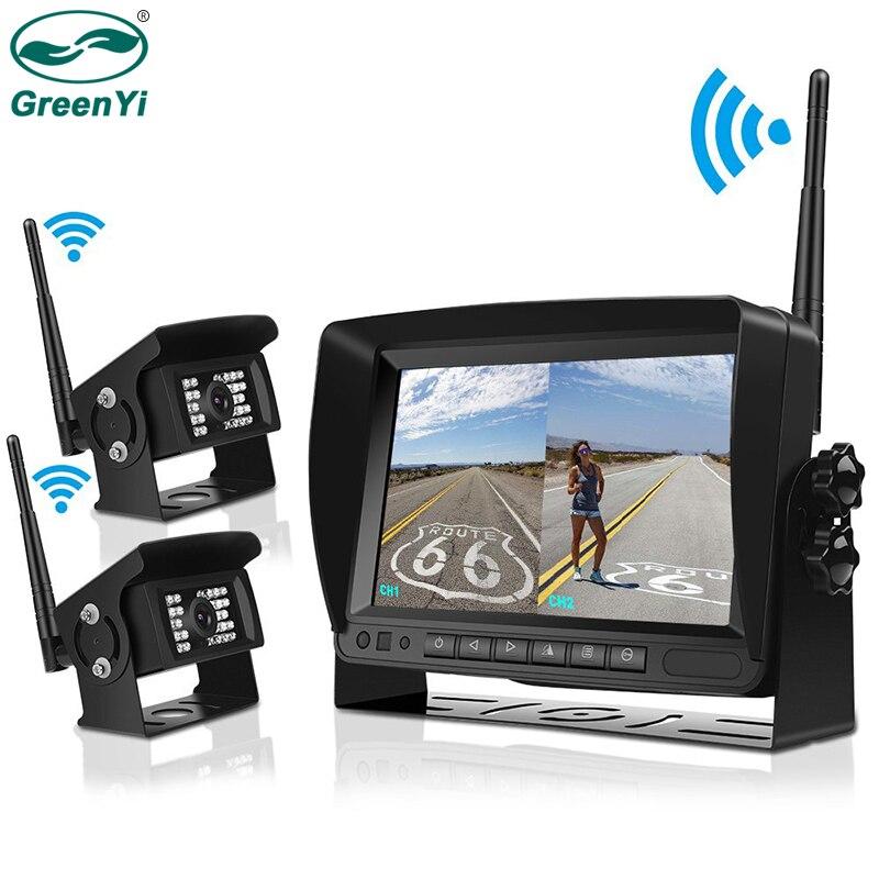 GreenYi Digital Wireless Backup Camera Kit Vehicle Rear View Camera 7 LCD Monitor for Truck Semi