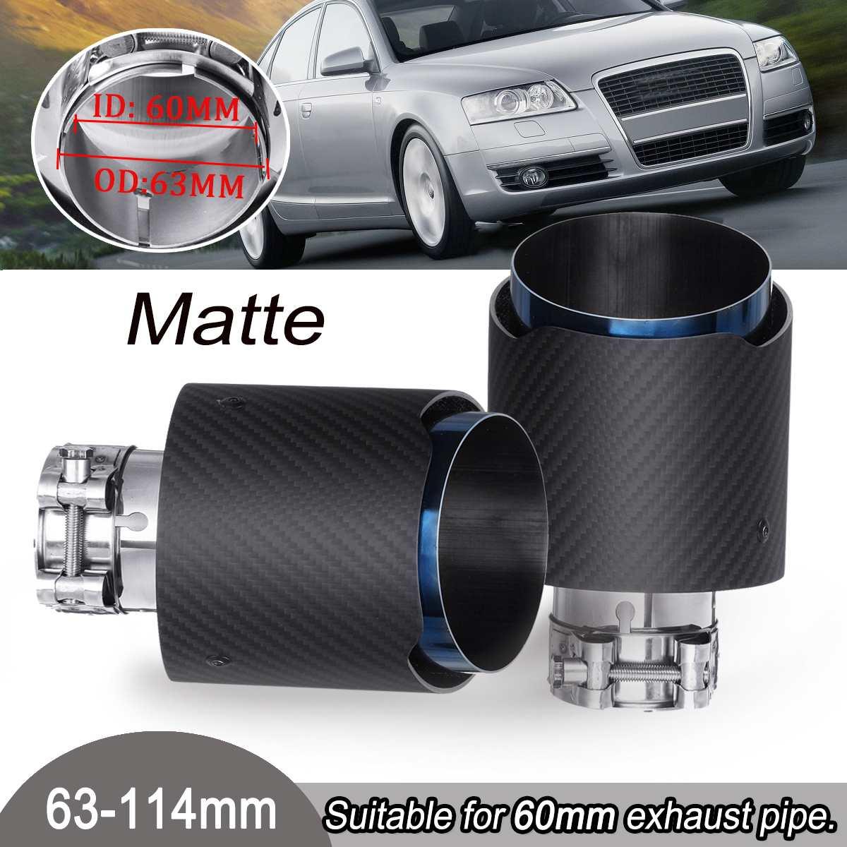 1 paire 63-114mm universel en acier inoxydable mat en Fiber de carbone arrière embout d'échappement bleu tuyau d'extrémité pour VW/Benz/Ford/Mazda/Toyota/Honda