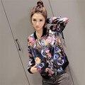 Durable mujeres básica abrigos bomber jacket Women Impreso Floral de la Cremallera de Manga Larga Traje Chaqueta de La Capa Outwear
