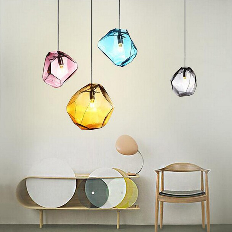 Creative design Modern LED colorful glass stone pendant lights lamps for dining room living room bar glass lights creative design modern led colorful glass pendant lights lamps for dining room living room bar led g4 85 265v bubble glass light