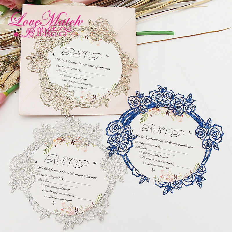 50set Sample Glitte Paper Invitation Card Flower Shape Party Wedding Birthday Rsvp Card Table Place Name Card For Guest Wedding
