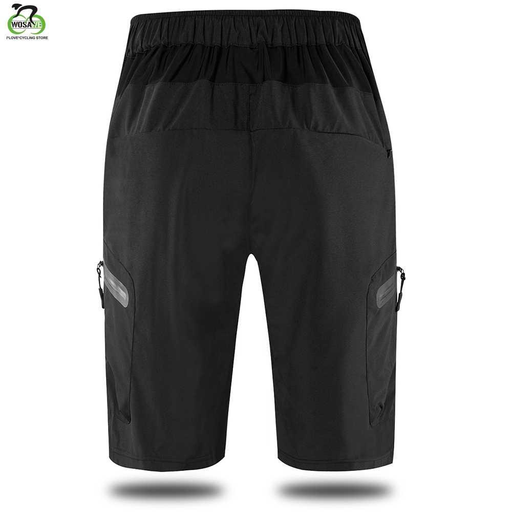 WOSAWE, летние мужские велосипедные шорты, свободный крой, дышащие, светоотражающие, для улицы, для езды на горном велосипеде