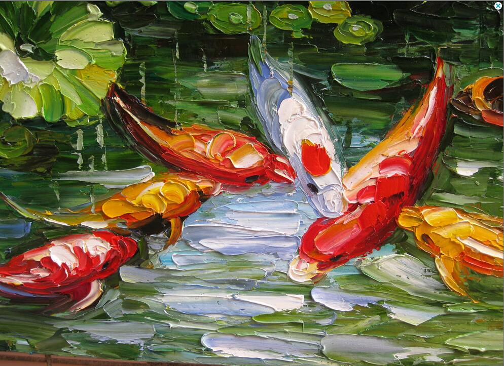 Handmade original large abstract modern palette knife oil animalsa red goldfish in the river living room decoration