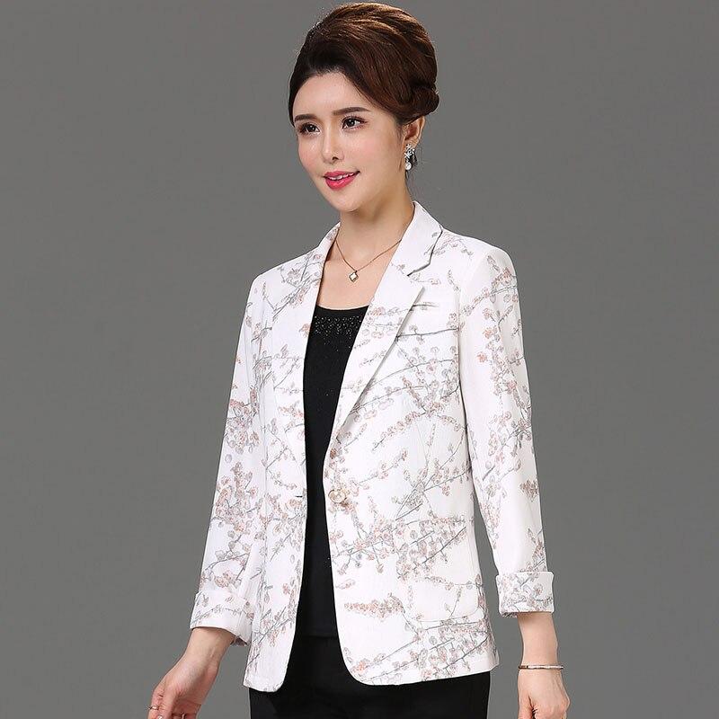 2019 summer fashion pattern print blazers women single button 3/4 sleeve plus size thin jackets without lining(China)