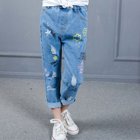 Большие штаны для девочек Новинка 2017 детская одежда на весну-осень повседневные джинсы дети мультфильм образ девушки карандаш брюки Горяча...