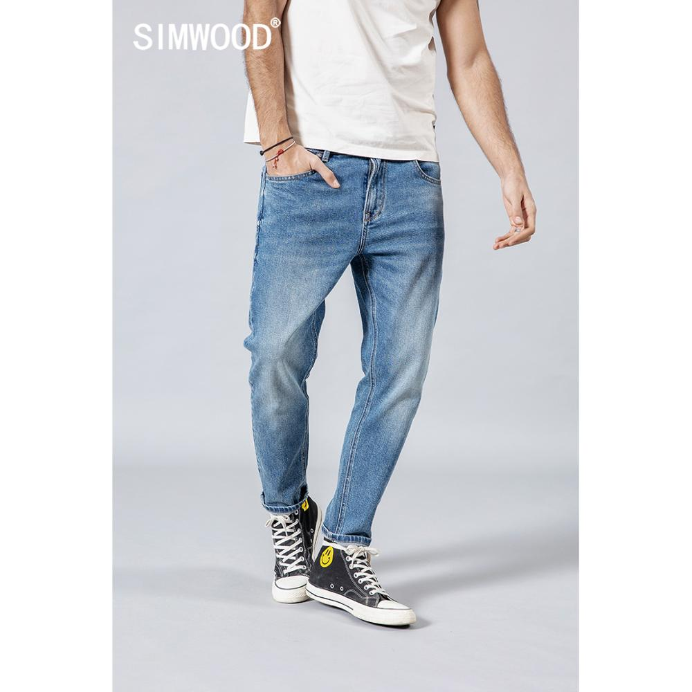 SIMWOOD 2019 summer new casual   jeans   men light blue ankle-length slim fit light blue denim trousers high quality   jean   190167
