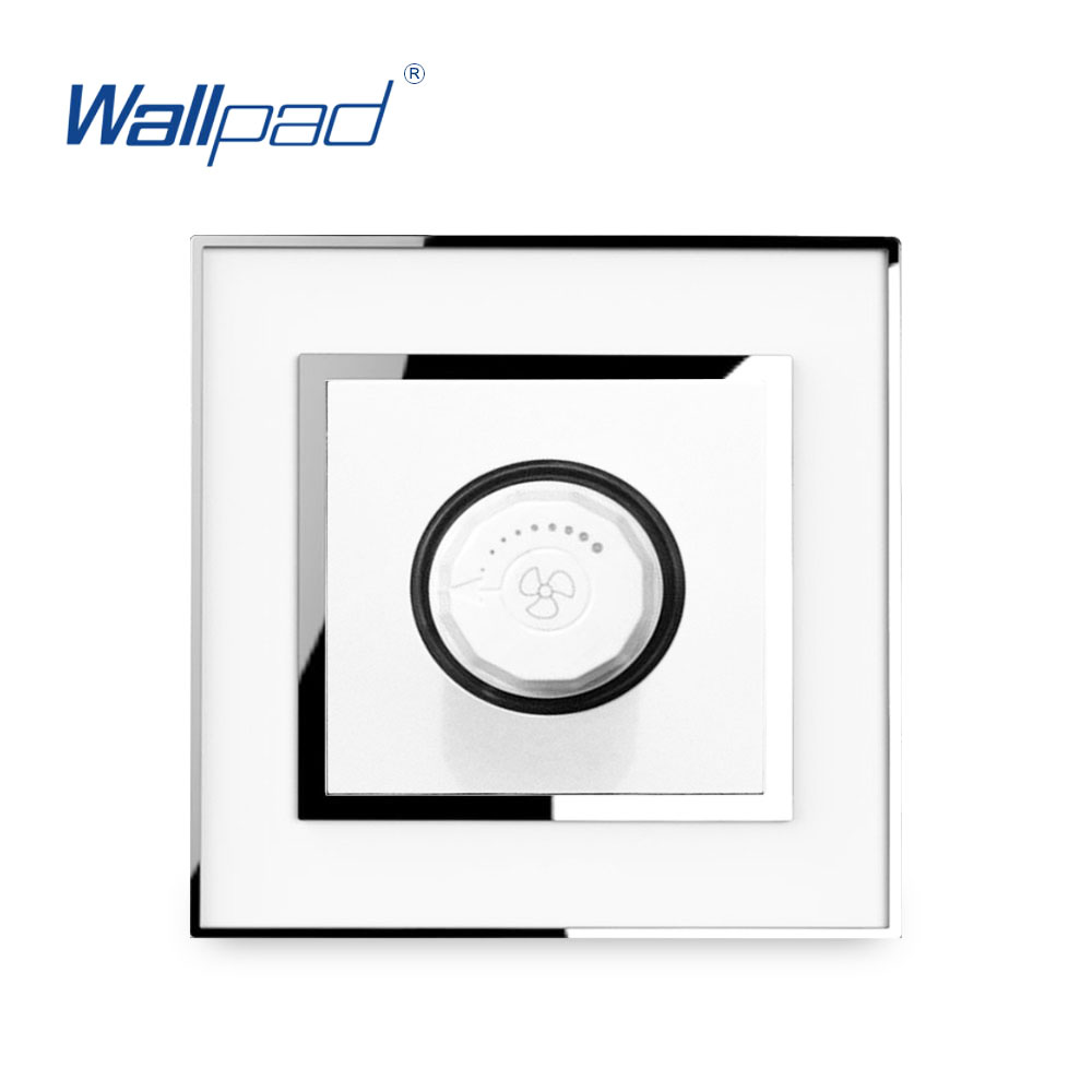 Rotary Fan Switch 2019 Mirror Panel With Silver Frame Wallpad AC110-<font><b>250V</b></font> White Fan Speed Regulator Knob Control Wall Switch image