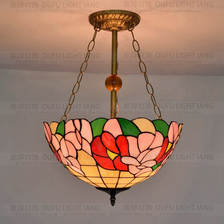 37cm  Flesh Country Flowers Tiffany pendant light  Stained Glass Lamp for Bedroom E27 110-240V37cm  Flesh Country Flowers Tiffany pendant light  Stained Glass Lamp for Bedroom E27 110-240V