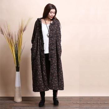 LZJN Fashion Winter Jacket Hooded Chinese Style Brushed Women Coat Mori Girl Wool Outerwear Small Flower Long Jacket Bayan Kaban 6