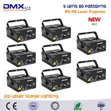 DHL Free shipping 8pcs lot 3Colors Remote 5 Lens 80 Pattern RGRB Laser BLUE LED Stage