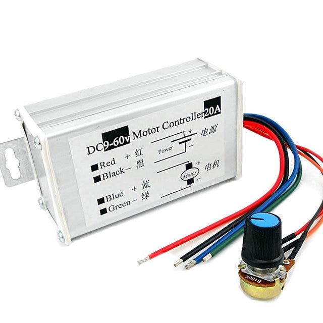 Pwm dc motor stepless speed controller 12v 24v 60v max 20a for 24 volt dc motor speed controller