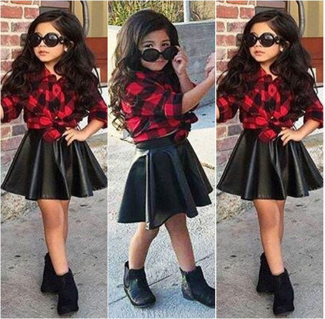 2016 2Pcs Hot-Selling Fashion Kids  Girl Princess Plaid Tops Long Full Sleeve Shirt +Leather Skirt Outfits Clothes Sets