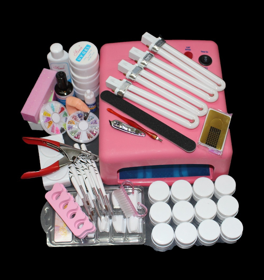 BTT-91 Nail Art Tool Full Set 12 Color UV Gel Kit Brush nail Dryer Nail Art Set + 36W Curing UV Lamp Kit Dryer Curining Tools nail art full set 36w nail lamp dryer