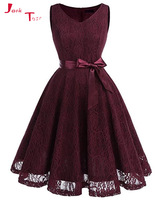 Jark Tozr New Arrive Knee Length Short Party Gowns Robe Longue Burgundy Red Blue Lace Bow