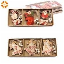 12PCS/Box Creative Wood Craft Santa Claus&Angel Wooden Pendants Ornaments Christmas Party Decorations Tree Gift Box