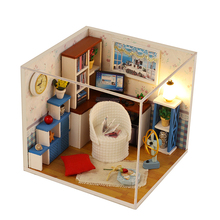 DIY Doll House Miniature With 3D Furnitures Casa Building Dollhouse Wooden Model Creative Toys For Children Warm Time M003 #E