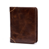 Explosive Men's Short First Layer Cowhide Wallet Business Stylish Multi Card Vertical Wax Vertical Paper Bag