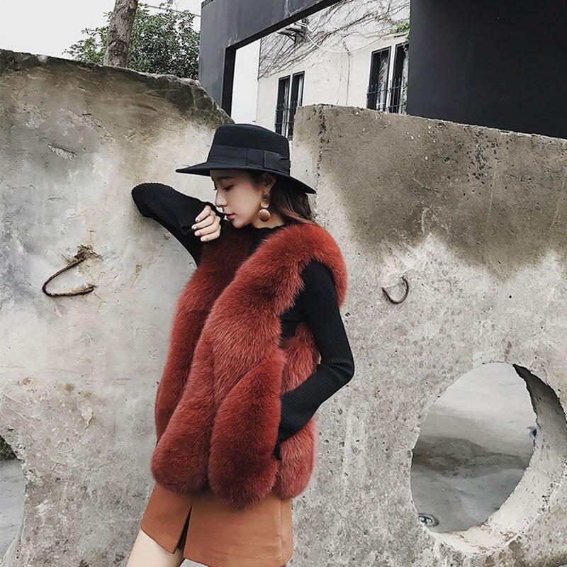 Élégant Zl628 La Chaud Fourrure Hiver Vraie Femmes De Vintage Vêtements Manteau Gilet Femme black Gray Réel Renard D'hiver dark Apricot Manteaux Veste 2018 Gilets caramel HOwHfrnq
