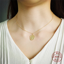 Real 925 Sterling Sliver Abstract Face Pendant Chokers Necklace for Women Minimalist Gold Coin Disc Chain collier Jewelry Z4 peri sbox 925 sterling sliver face pendant chokers necklace minimalist coin disc choker necklaces chic layered chain necklaces